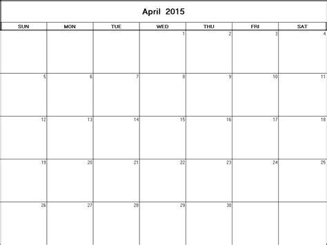 printable calendar april to december 2015 april 2015 printable blank calendar calendarprintables net