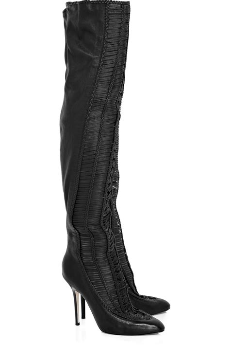 thigh high leather boots jimmy choo thigh high leather boots in black lyst