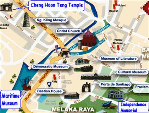 places of interest in map melaka map places of interest