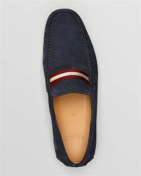 bally suede loafers lyst bally wabler suede driving loafers in blue for