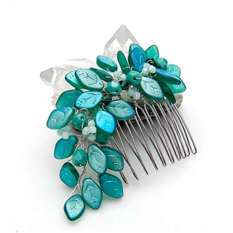 teal flower hair accessories teal bridal hair comb with leaves teal leaf hair comb