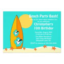 beach party surfboard swimming birthday invitation 5 quot x 7
