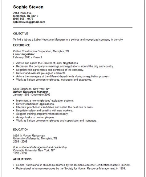 Resume Objective Exles Labourer Labor Negotiator Resume Exle Free Templates Collection