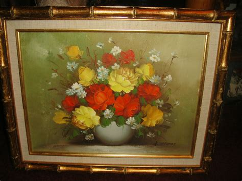 R S Painting by Vintage R Signed Painting On Canvas Bouquet Of