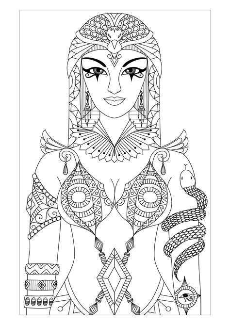 coloring page websites for adults egypt cleopatra queen by bimdeedee egypt hieroglyphs