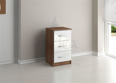 walnut and white gloss bedroom furniture birlea lynx walnut white high gloss 3 drawer bedside
