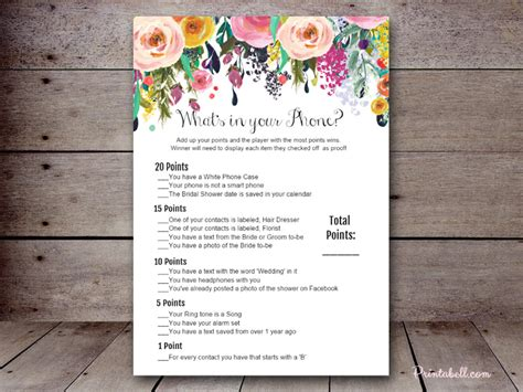 bridal what s in your phone printabell create
