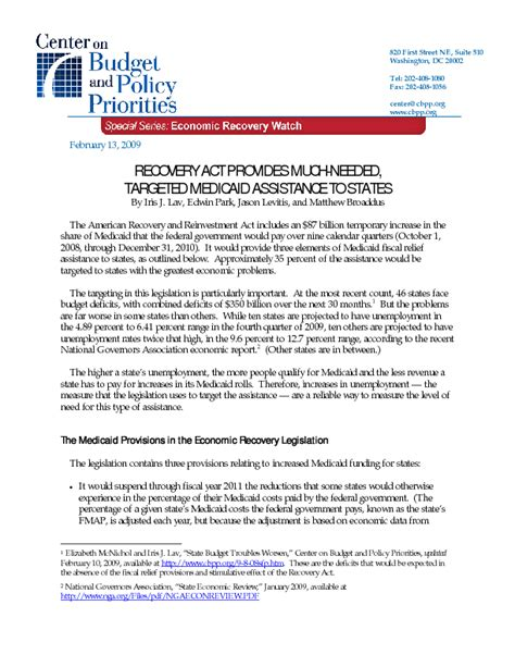 chip fmap recovery act provides much needed targeted medicaid