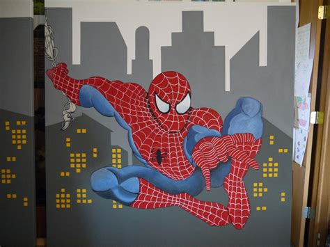 spiderman themed bedroom super hero themed room spiderman painted on canvas