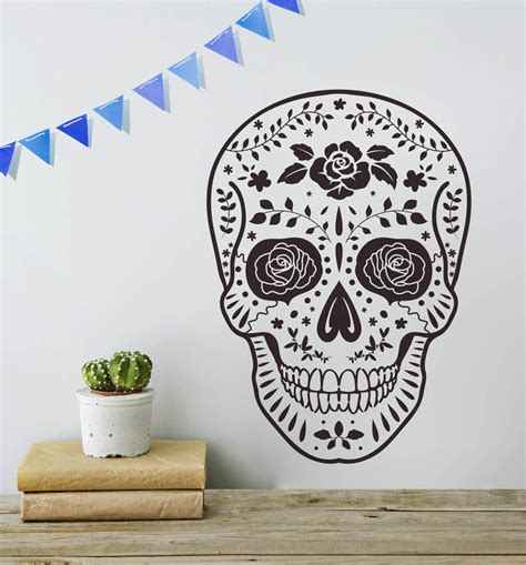 skull wall stickers day of the dead mexican skull vinyl wall sticker by