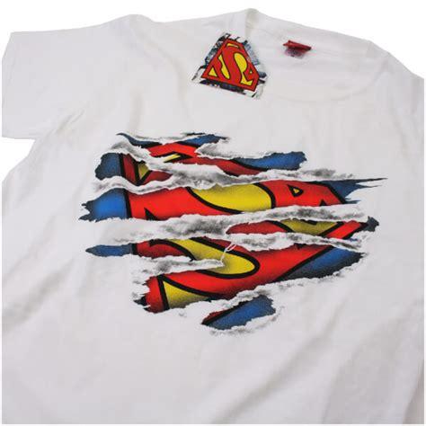 Tshirt Logo Dc White dc comics s superman torn logo t shirt white