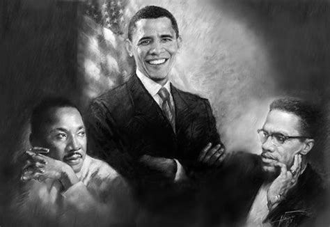 Pensil Alis Martin by Barack Obama Martin Luther King Jr And Malcolm X Pastel By