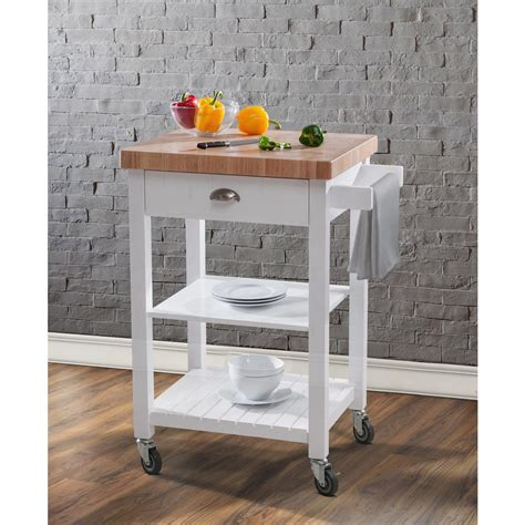 Kitchen Cart With Butcher Block Top White by Hton Bay Bedford White Kitchen Cart With Butcher Block