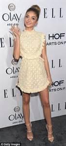 Doily sarah hyland puts a modern spin on her lace vintage style dress