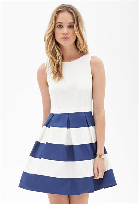 Wst 8722 Blue Pleated Dress lyst forever 21 pleated stripe dress in blue