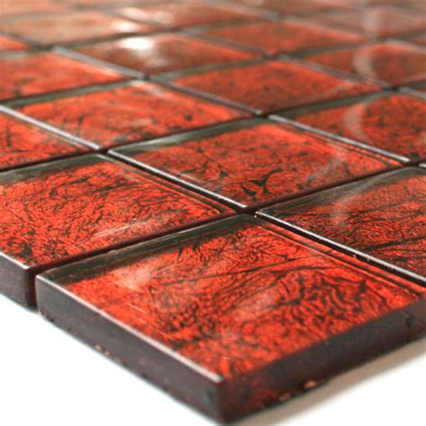 rote fliesen glasmosaik fliesen 48x48x8mm rot metall tk10006m