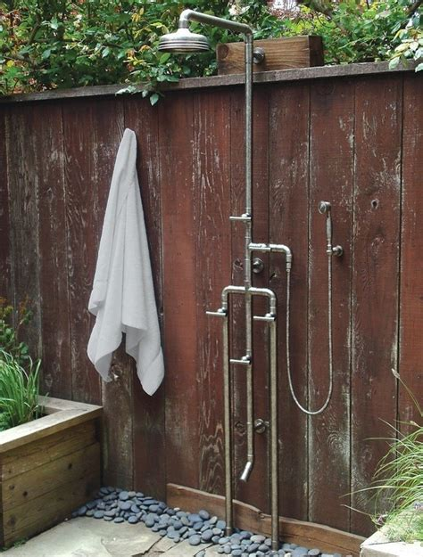 outdoor showering high low rugged outdoor shower remodelista