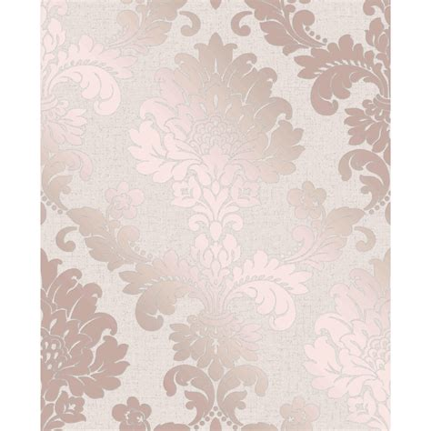 The Big One Bedding Quartz Damask Wallpaper Rose Gold Wallpaper B Amp M