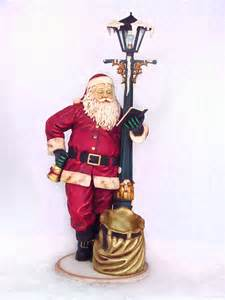 santa claus with l post christmas decor life size 7ft