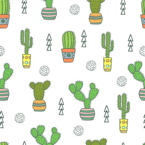 cactus seamless pattern doodle colorful flowers  pots