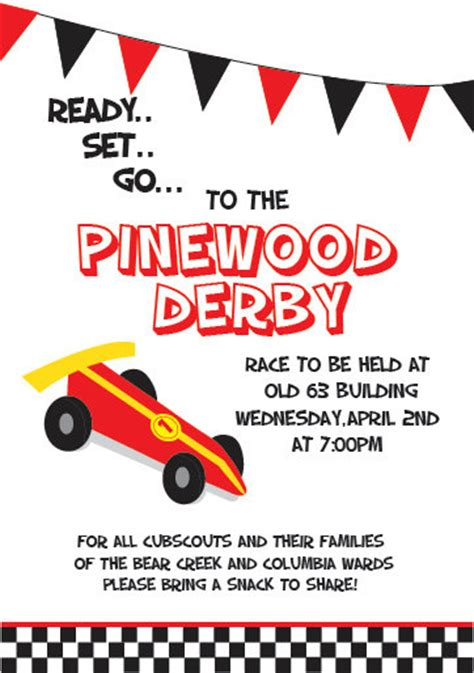 pinewood derby flyer template custom pinewood derby invitation 5x7 by katyphotoanddesign