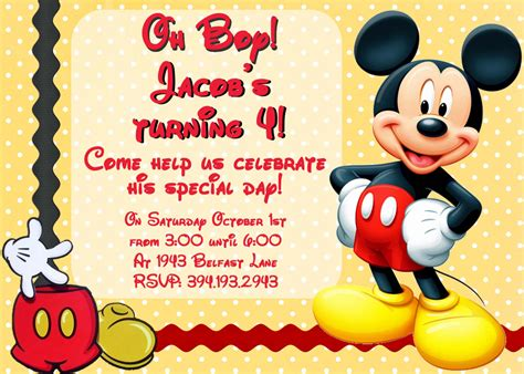 Mickey Mouse Birthday Invitation Card Unavailable Listing On Etsy