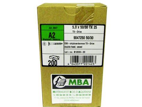 Mba En Liste by Vis Terrasse Mba Inox A2 5 X50 30 Boite De 200 Mba