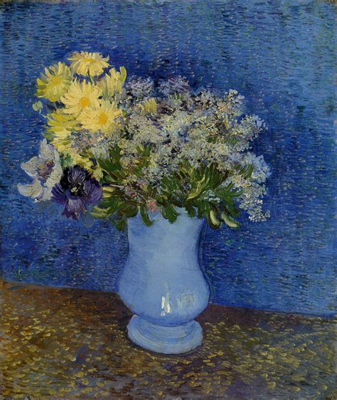 Gogh Flowers In A Vase by Vincent Gogh Bouquet Of Flowers In A Blue Vase