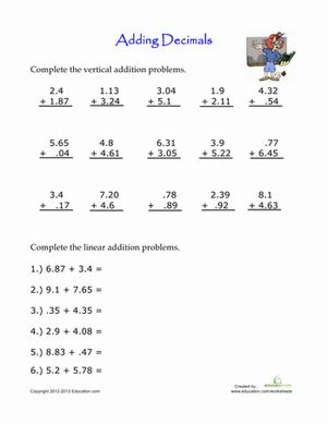 printable decimal quiz 4th grade math decimals worksheets worksheets