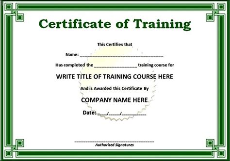 simple training certificate template sle templates