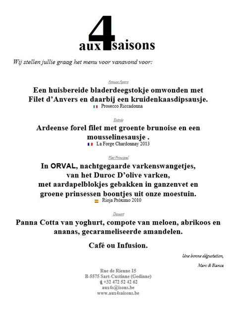 voorbeeld menukaart menukaart voorbeeld 4 aux 4 saisons