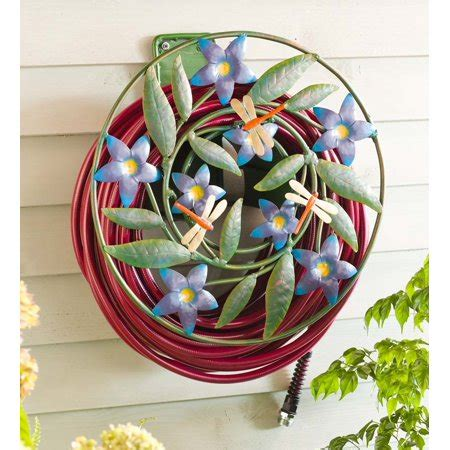 wall mounted dragonfly flowers garden hose holder