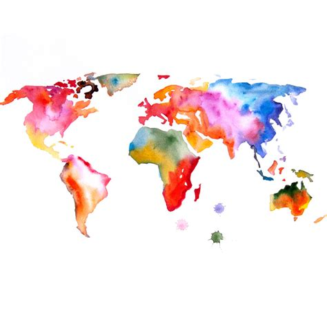 The World In Watercolor by Map Of The World Print 13x19 Original Watercolor