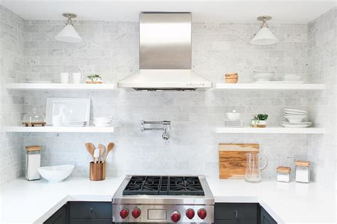 white kitchen shelves white flat front kitchen cabinets with gray quartz