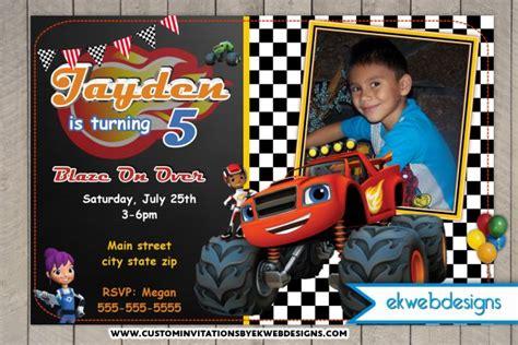 blaze card template blaze and the machines custom photo birthday