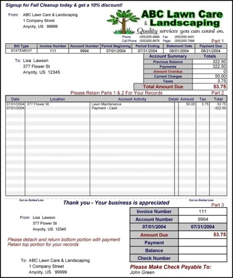 lawn care invoice template lawn care invoice template