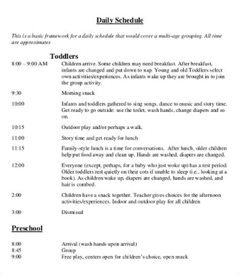 daycare schedule template 7+ free word, pdf format