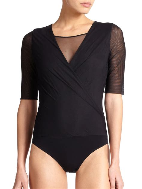 draped bodysuit wolford tulle draped bodysuit in black lyst