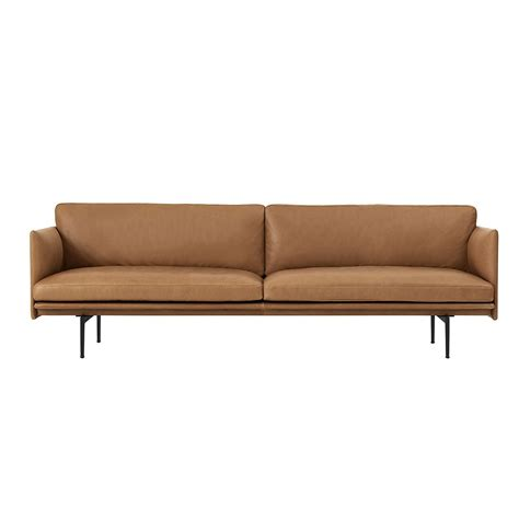 canap駸 cuir canap 233 3 places outline cuir cognac muuto