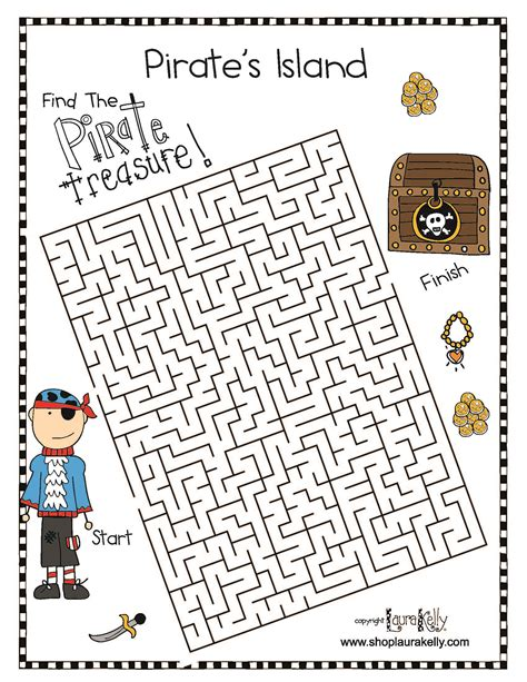 printable pirate maze pirate fun featuring laura kelly s pirate island a