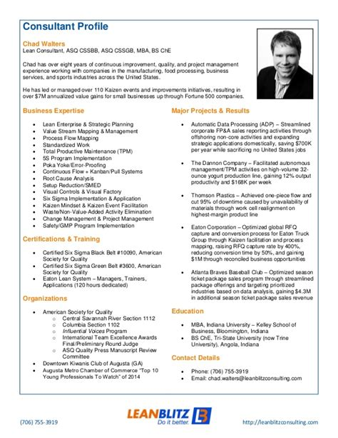 Mba Consulting Description by Lean Blitz Consultant Profile Chad Walters