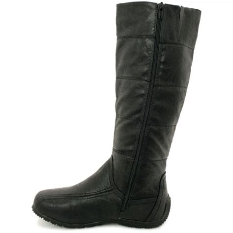 buy tania toggle knee high wide calf biker boots black