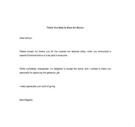 thank you letter to for bonus 10 thank you notes to free sle exle format