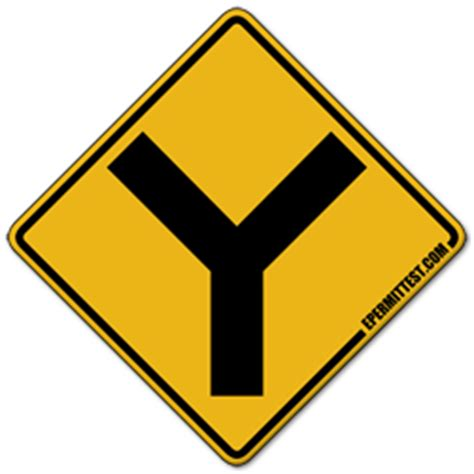 Y Intersection | Warning Road Signs Y Intersection Sign