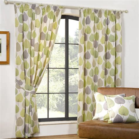 white and green curtains white fabric curtain with green and purple leaves on
