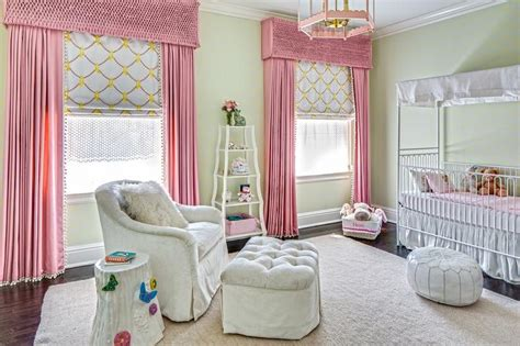 Pink And Green Curtains Nursery White Canopy Crib With Pink Bedding Traditional Nursery