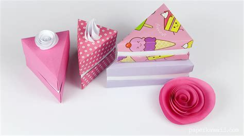 How To Make A Origami Cake - origami cake slice box paper kawaii