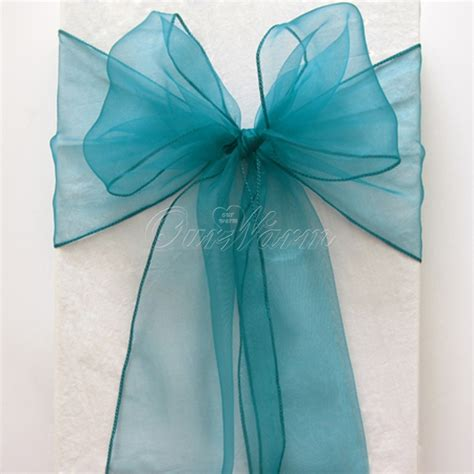 teal green chair sashes 25 pieces teal blue 7 quot x108 quot organza chair sash bow wedding
