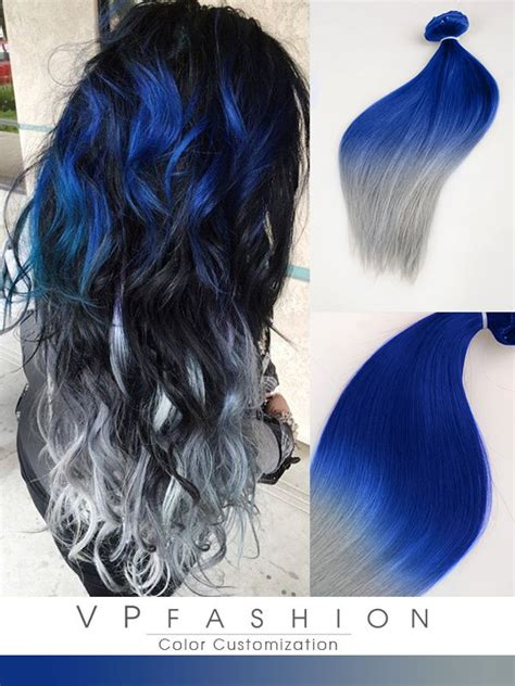 colorful ombre blue and silver ombre colorful indian remy clip in hair