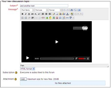 html tutorial embed video moodle in english moodle 2 0 issues with using video